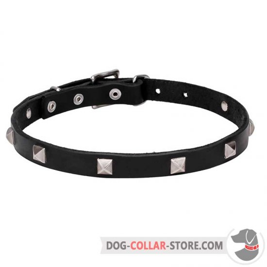 'A La Mode' Leather Dog Collar with Pyramidal Studs