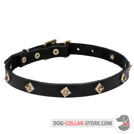 'Rhombi' Leather Dog Walking Collar