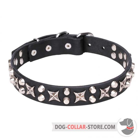 """Shining Stars"" 1 1/5 inch (30 mm) Leather Dog Collar Decorated"