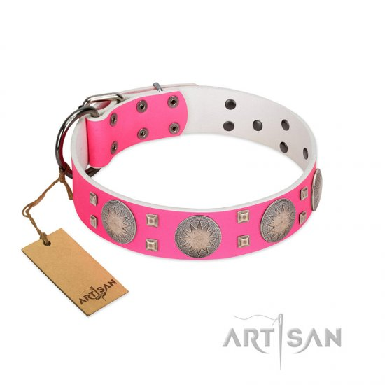 """Sunny Star"" Designer Handmade FDT Artisan Pink Leather dog Collar"