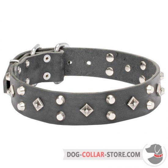 'Pyramid of Cheops' Leather Dog Collar Richly Decorated