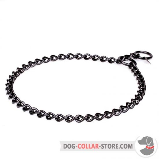 """Iron Trainer"" Dog Choke Collar Made of Black Stainless Steel"