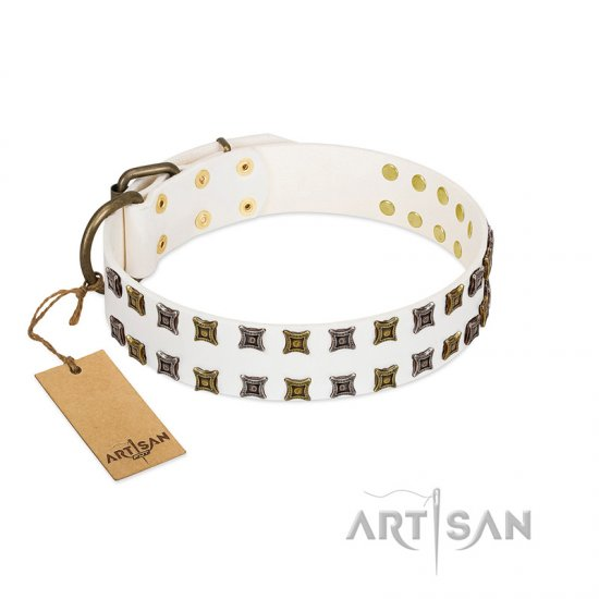 """Ice Peak"" FDT Artisan White Leather dog Collar with Silvery and Goldish Decorations"