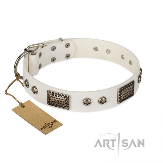 """Terrific Beauty"" FDT Artisan Beguiling White Leather dog Collar"