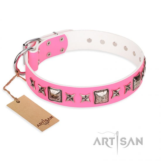 """Lady in Pink"" FDT Artisan Extravagant Leather dog Collar with Studs"