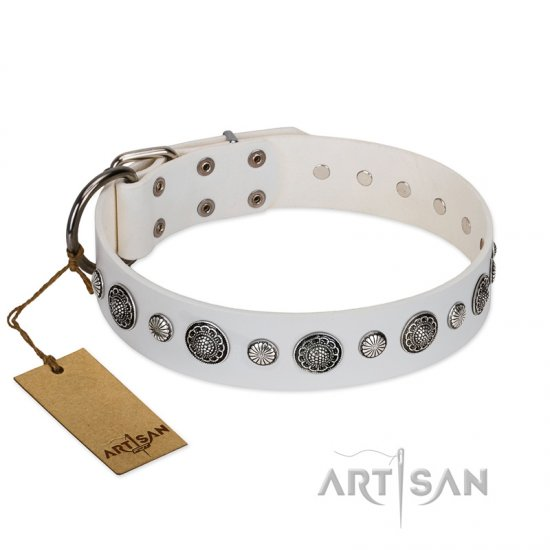 """Fluff-Stuff Beauty"" FDT Artisan White Leather dog Collar with Silver-like Studs and Conchos"