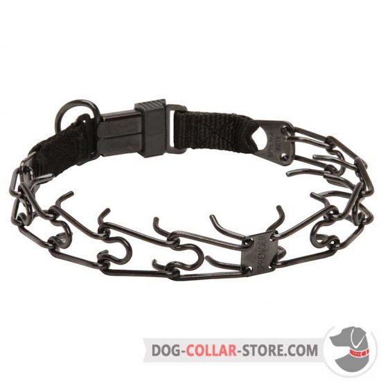 Strainless Steel Dog Prong Collar in Black