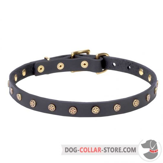'Stars' Leather Dog Collar with Decorative Studs