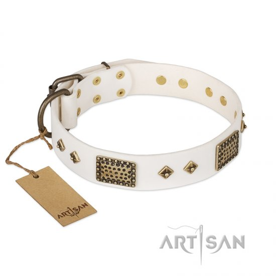 """Snow-covered Gold"" FDT Artisan White Leather dog Collar"