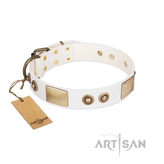 """Noble Impulse"" FDT Artisan White Leather dog Collar Adorned with Antique Plates and Studs"