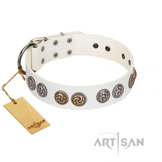 """White Moonlight"" FDT Artisan White Leather dog Collar with Elegant Decorations"