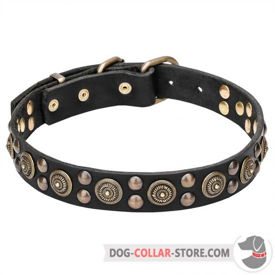 """Boho Style"" 1 1/4 inch (30 mm) Wide Leather Dog Collar"