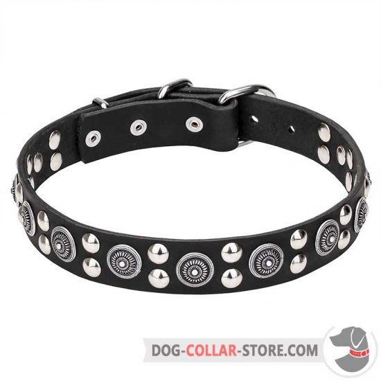 """Galactic Style"" 1 1/5 Inch (30 mm) wide Leather Dog Collar with Fineries"