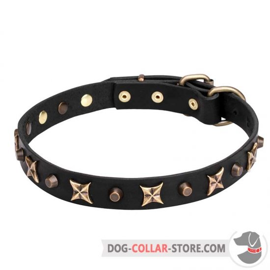 """Four Cornered Stars"" Leather Dog Collar Handmade"