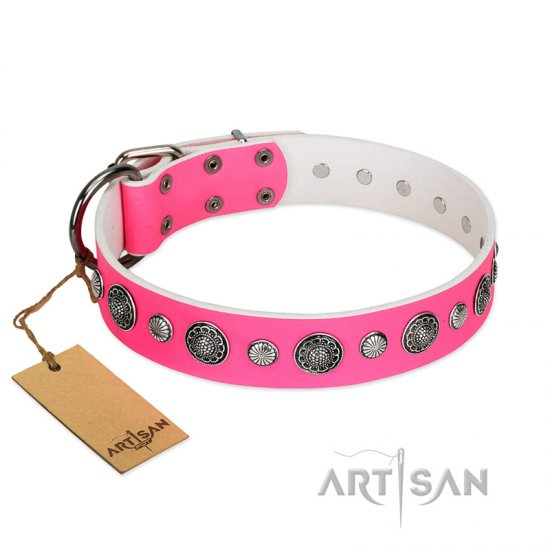 """Glamorous Shine"" FDT Artisan Stylish Leather dog Collar with Old Silver-like Plated Decorations"