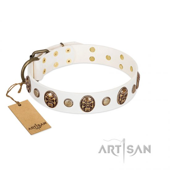 """Fatal Beauty"" FDT Artisan White Leather dog Collar with Old Bronze-like Studs and Oval Brooches"