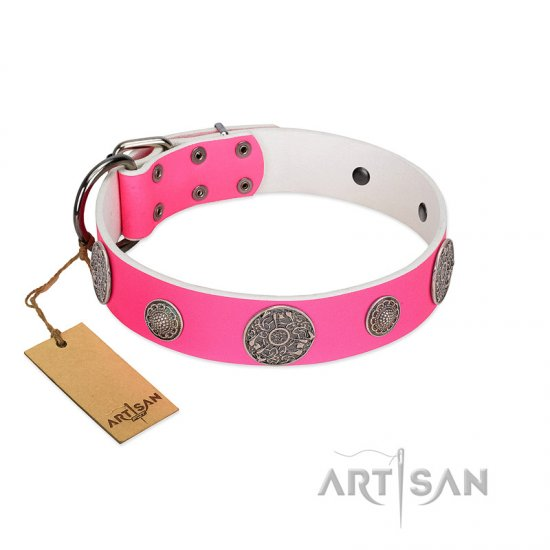 """Pink Elegance"" Designer Handmade FDT Artisan Pink Leather dog Collar"
