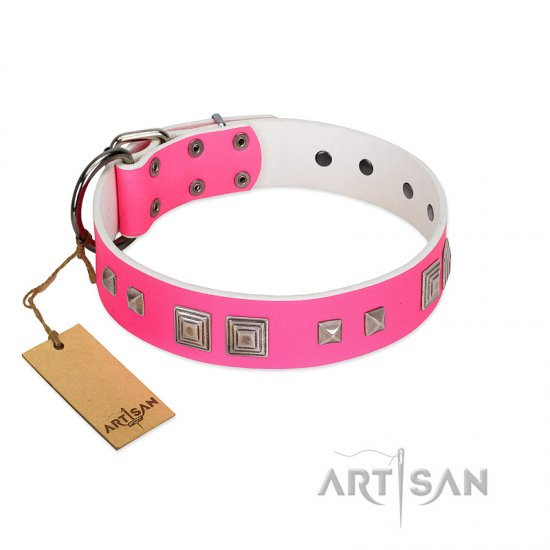 """Rosy Evolution"" Designer Handmade FDT Artisan Pink Leather dog Collar"