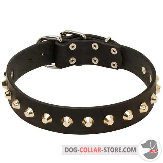 'Daily Elegance' Leather Dog Collar with Studs