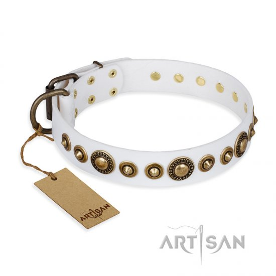 """Swirl of Fashion"" FDT Artisan Delicate White Leather dog Collar with Stunning Bronze-Plated Round Studs"