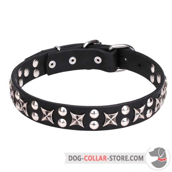 """Planets and Stars"" Leather Dog Collar 1 1/5 inch (30 mm) Wide"