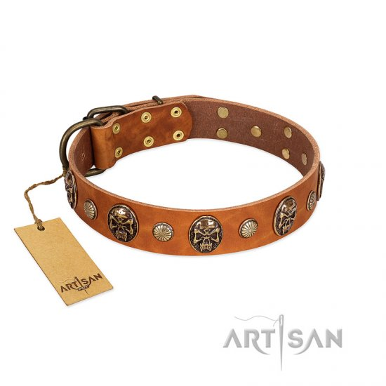 """Call of Feat"" FDT Artisan Tan Leather dog Collar with Old Bronze-like Studs and Oval Brooches - Click Image to Close"