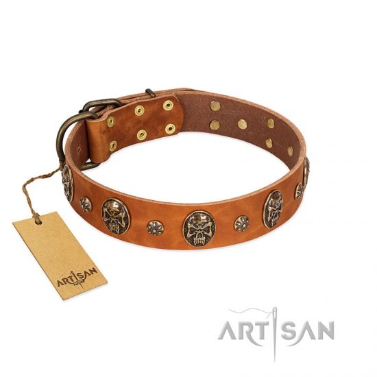 """Rockstar"" FDT Artisan Tan Leather dog Collar with Engraved Studs and Medallions"