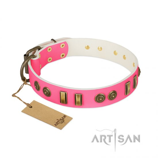 """Pink Amulet"" FDT Artisan Leather dog Collar with Old Bronze-like Plates and Circles"