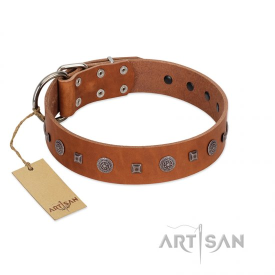 """Sweet Caramel"" Designer FDT Artisan Tan Leather dog Collar"