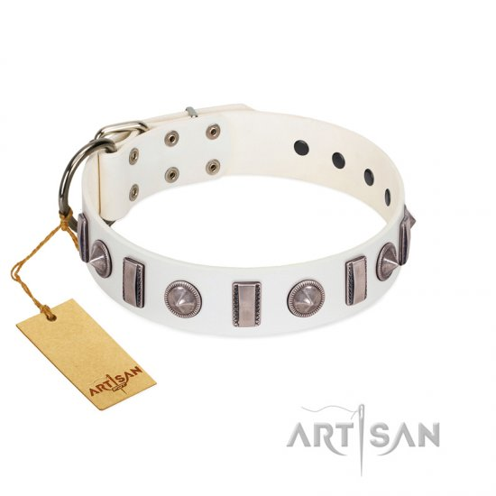 """Icy Spike"" Designer FDT Artisan White Leather dog Collar with Silver-Like Decorations"
