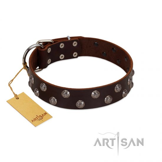 """Blossom Jewel"" FDT Artisan Brown Leather dog Collar with Two Rows of Silver-like Studs with Engraved Flowers"