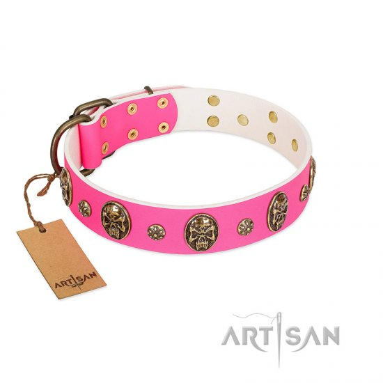 """Fashion Show"" FDT Artisan Pink Leather dog Collar with Old Bronze-like Skulls and Studs"