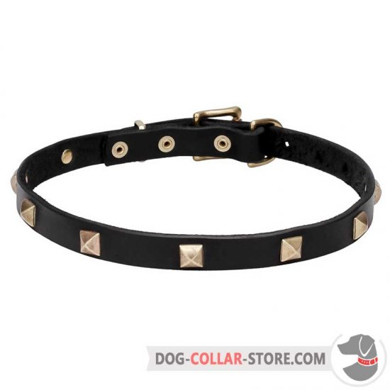 'Modern Style' Leather Dog Walking Collar with Pyramids