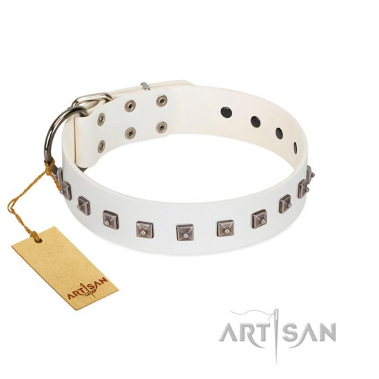 """True Grace"" Premium Quality FDT Artisan White Designer Leather dog Collar"