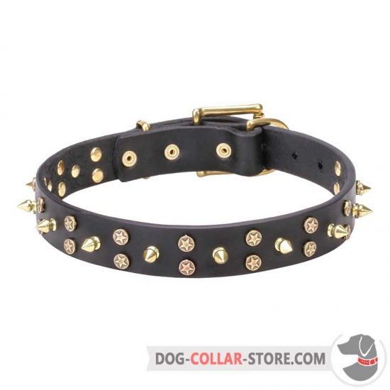 'Space Travel' Dog Leather Collar with Decorations