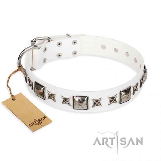 """Intergalactic Travelling"" FDT Artisan Handcrafted White Leather dog Collar"
