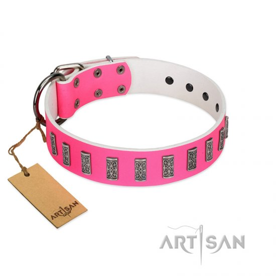 """Pink Necklace"" Handmade FDT Artisan Pink Leather dog Collar with Silver-Like Decorations"