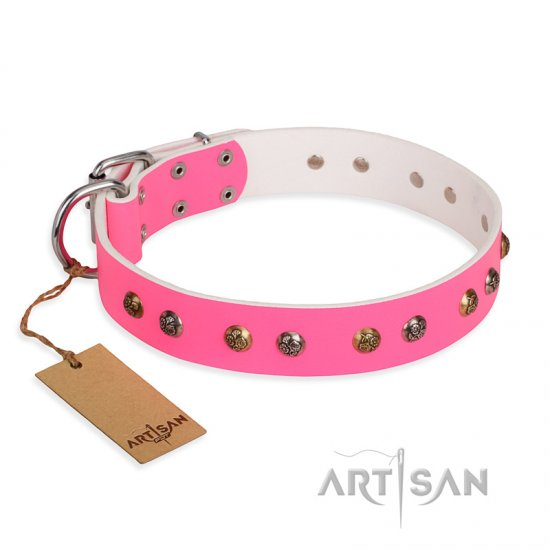 """Sheer love"" Pink Leather FDT Artisan dog Collar with Old-look Hemisphere Studs"
