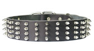 2 inch Wide Leather Spiked Dog Collar for Training and Walking