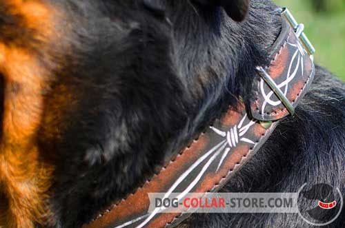 Water Resistant Barbed Wire Hand Painting on Leather Dog Collar