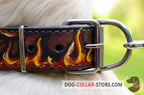 Firm Nickel Plated Buckle On Leather Dog Collar