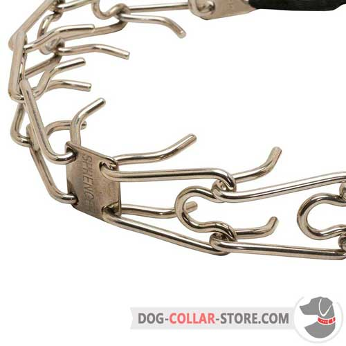 Stainless Steel Central Plate on HS Dog Prong Collar