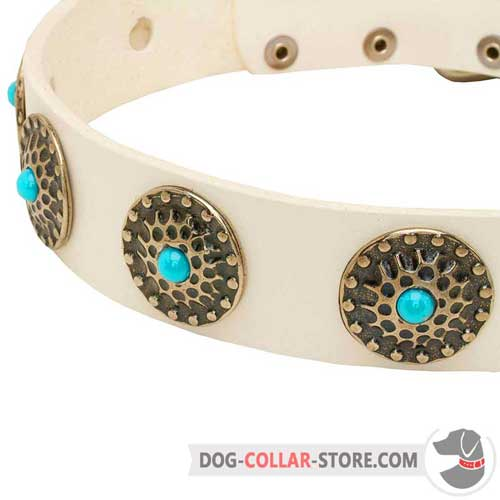 Solid Circles With Blue Stones On White Dog Collar Leather Walking