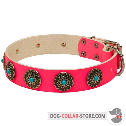 Pink Leather Dog Collar with Gorgeous Blue Stones Inserted Circles