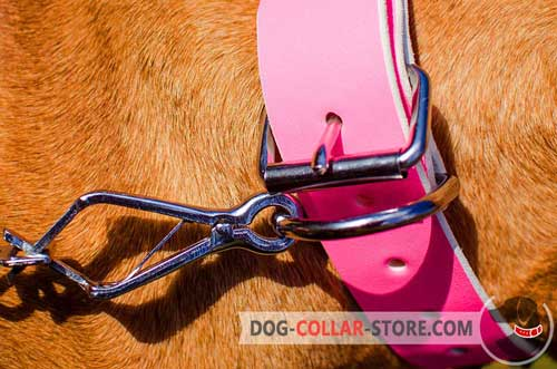 Super Wide D-Ring on Studded Pink Leather Dog Collar to Quickly Attach the Leash