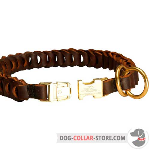 Braided Leather Dog Choke Collar with Golden Quick Release Buckle
