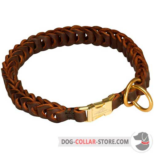 Hand Braided Leather Dog Choke Collar for Effective Training