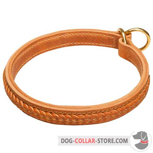 Braided Leather Dog Choke Collar for Training Sessions