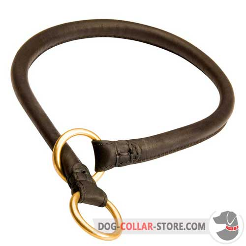 Training Rolled Leather Dog Choke Collar with Rings