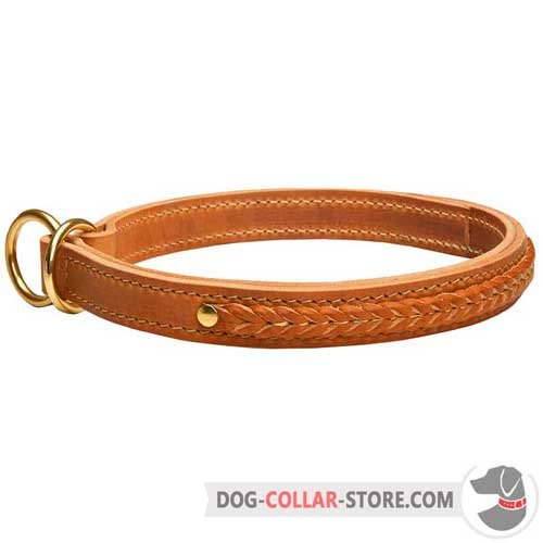 Two Ply Leather Dog Choke Collar with Hand Made Braiding